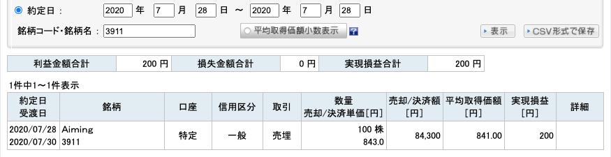 2020-07-28 Aiming 収支