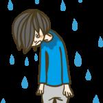 雨に降られる人