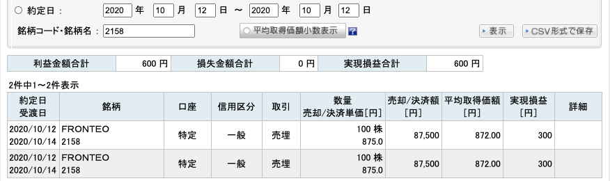 2020-10-12 FRONTEO 収支
