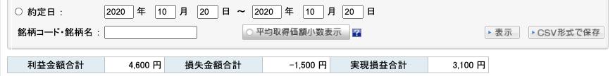 2020-10-20 収支