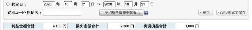 2020-10-21 収支