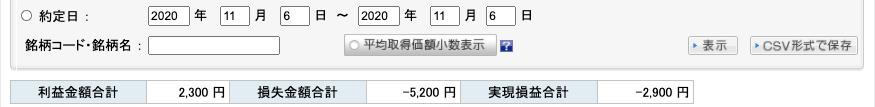 2020-11-06 収支