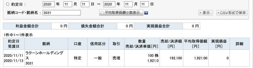 2020-11-11 ラクーンHD 収支