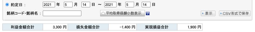 2021-05-14 収支