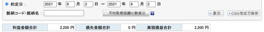 2021-09-02 収支