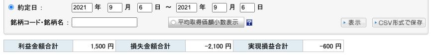 2021-09-06 収支