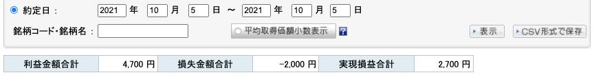 2021-10-05 収支